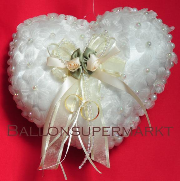 Ringkissen zur Hochzeitsdekoration mit Perlen, Blüten und Schleife